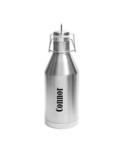 - Name Growler - 64 oz - Stainless Steel with a Swing Top Lid and Carrying Handle - Choice of Black or Brushed Silver Colors, Name, Letter, Font & Text Layout - Custom Engraved - Birthday, Holiday Gift