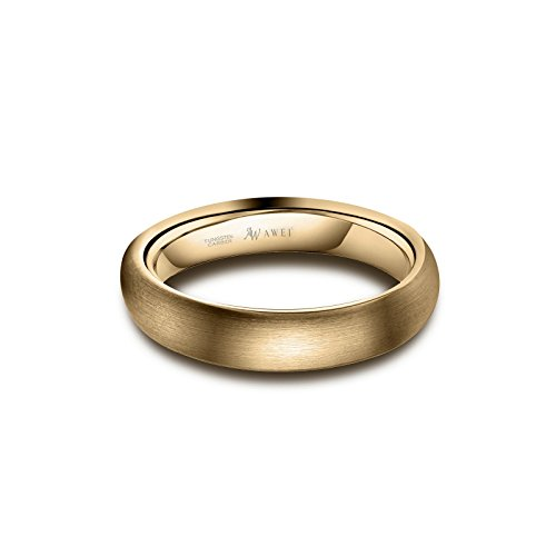 AW Tungsten Rings Matte Brushed Wedding Band - Gold Unisex Comfort Fit Engagement Ring 4mm, Size 8 by AW (Image #4)