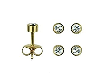 Mytoptrendz® 2 pair Yellow Gold Plated Bezel Setting Clear Crystal Sterilized Piercing Stud Earrings DT2kJhOFhQ