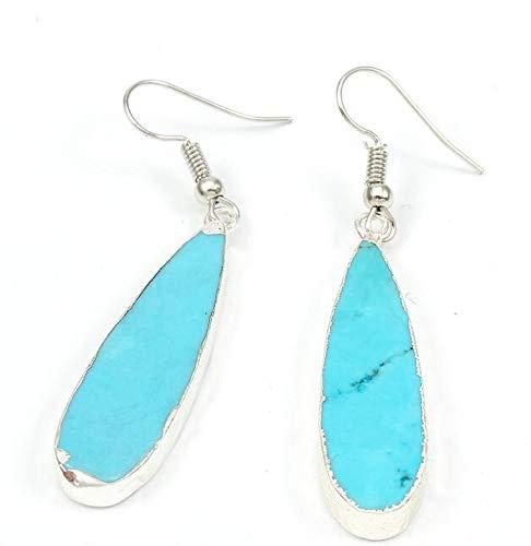 HANBINGPO Water Drop Silver Earings for Women Jewelry Drop Dangle Druzy Drusy Stone Eardrop Hook Earrings,Water Drop