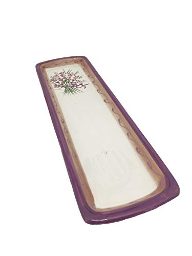 Terre et Couleurs 015251 White Spoon Rest with Lavender Design and Lavender Trim