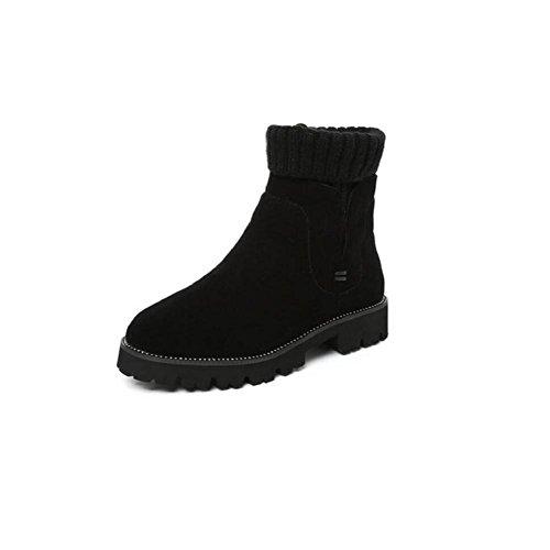 Grandi scarpe stivali donna cotone imbottito con suola spessa Scarpe Flat Martin stivali neve ragazza breve , 37
