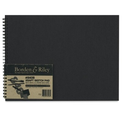 Borden & Riley #840B Sheet Kraft Paper Hard Cover Spiral Bound Sketchbooks, 9'' L x 12'' W x .50'' H