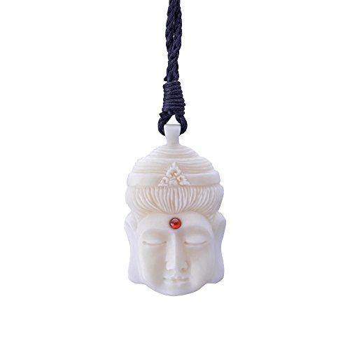 - 81stgeneration Women's Men's Handcarved Bone Tibetan Buddha Third Eye Meditation Pendant Necklace
