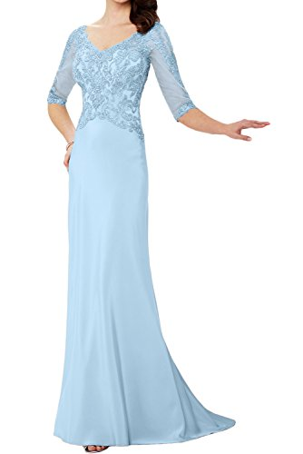 Paillette Partykleider Neu Abendkleider Ivydressing Perlen Neck Applikation Halbarm Spitze V Exklusive Mutterkleider Hellblau Lang pTRPR5x0qw