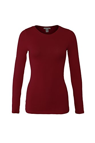 Bozzolo Women's RT1200 Basic Round Neck Long Sleeve T Shirt Top Burgundy L
