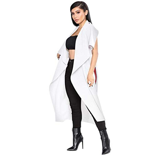 Libero Lunghe Inclusa Fashion Stlie Outwear Eleganti Bianco White Cucitura Cardigan Poncho Unique Trench Primaverile Estivi Asimmetrico Lily Sleeveless Tempo Cintura Giubotto Bobo Donna 0CwxTnFF6q