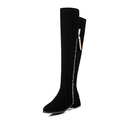 b2ca714a HAOLIEQUAN Botas hasta La Rodilla para Mujer Cremallera Suede Zapatos para  Mujer Botas De Invierno Punta