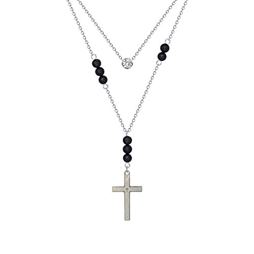 CZ Lava Rock Cross Pendant Necklace - Handmade