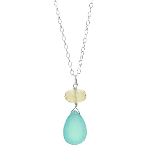 Aqua Quartz Briolette Necklace - ASHANTI Aqua Chalcedony and Lemon Quartz Briolette Natural Gemstone Sterling Silver Handmade 18 inch Necklace