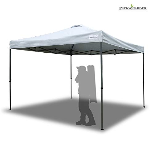PATIO GUARDER 10'x10' Instant Folding Canopy Tent Outdoor Pop up Portable Canopy with Wheeled Carry Bag, 4 x Ropes & 8 x Stakes, White