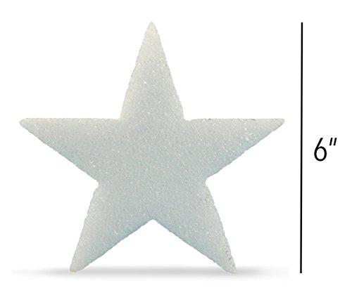 Hygloss Styrofoam Stars for Crafts and Decoration 6 Inches x  ½ inch Thick, White, 12 Pieces, 6 -