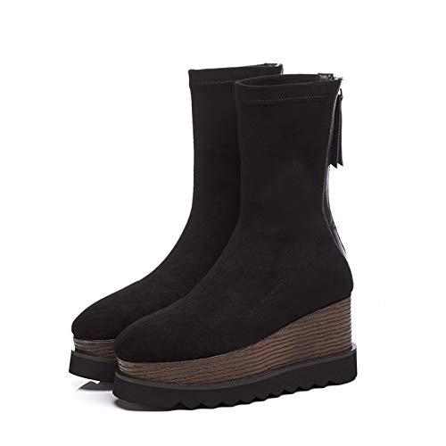 de de tacón botas de e salvajes de fondo invierno botas esponja Plataforma de cuero individuales Martin otoño mujer botas botas alto botas terciopelo botas 37 terciopelo de más de i negro TSNMNB de wSqE6Ffq