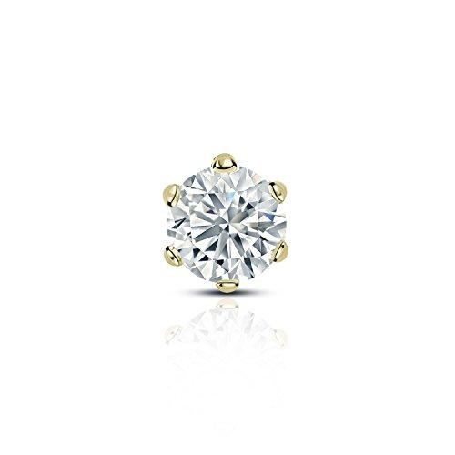 14k Yellow Gold 6-Prong Basket Round Diamond SINGLE STUD Earring (1/3 ct, O. White, (Diamond Single Earring)