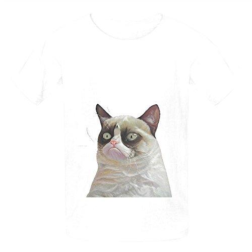Grumpy Cat Orange Child Crew Neck Customized Shirts White