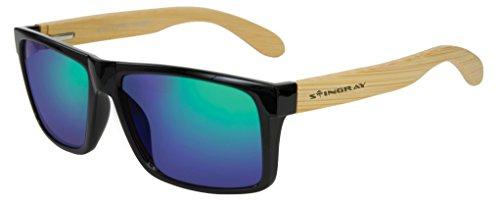 Stingray 51753 Breez Black/Tan Green Mirror Polarized Lens Bamboo - Stingray Sunglasses