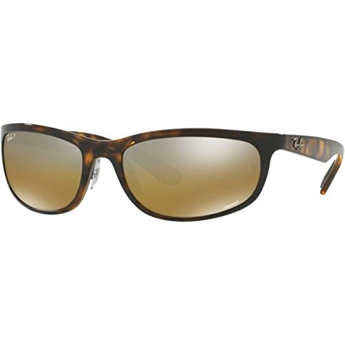 Ray-Ban RB4265 Chromance Mirrored Rectangular Sunglasses, Shiny Havana/Polarized Brown Mirror, 62 mm