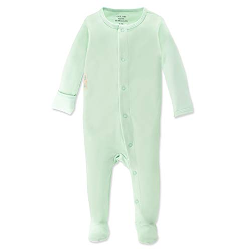 (Organic Baby Onesie Footed Pajamas | Unisex Sleeper Clothes USA Grown Cotton Green)