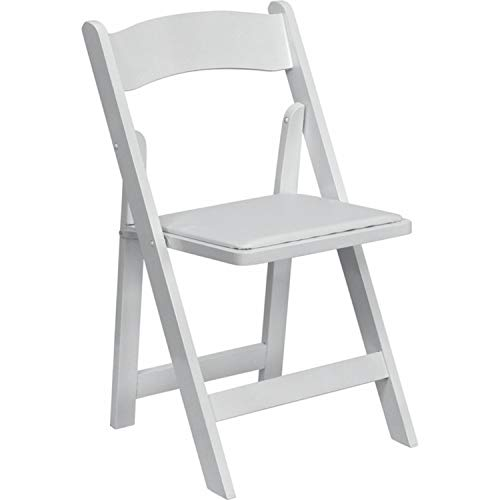 Offex OFX-89936-FF Wood Folding Chair with Vinyl Padded Seat - White by Offex (Image #1)'