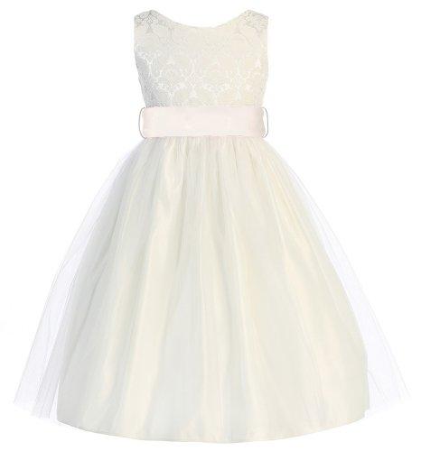 Sweet Kids Girls Jacquard & Tulle Dress ~ 3 Off Wht Ivory (Sk 394)
