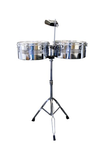 Timbale Snare - Suzuki Musical Instrument Corporation TS-2 Timbale Drum Set with Stand, Cowbell and Sticks