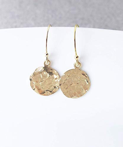 Gold Dangle Earrings, 14K Gold Filled Hammered Disc Drop Earrings, Round Disc Circle Earrings Disc Kidney Wire Earrings