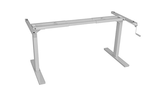 Ergo Elements White Manual Height Adjustable Stand Up Desk Frame Crank System Ergonomic Standing 2 Leg Workstation ()