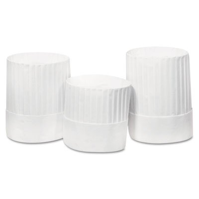 (RPPRCH10 - Pleated Chefs Hats, Paper, White, Adjustable, 10quot; Tall)