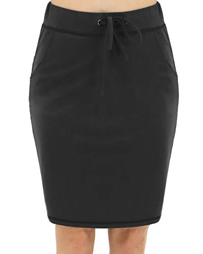 BENANCY Women's High Waist Stretch Pencil Skirt with Pockets Black S (Black Pencil Skirt Pockets)