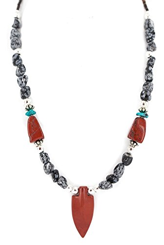 (Cross .925 Sterling Silver Certified Authentic Navajo Natural Turquoise Red Jasper Snowflake Obsidian Native American Necklace)