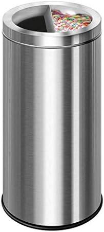 家庭用装飾収納バケット HJCAゴミ箱-金属製セミオープン灰皿屋外収納ボックス(色:シルバー)