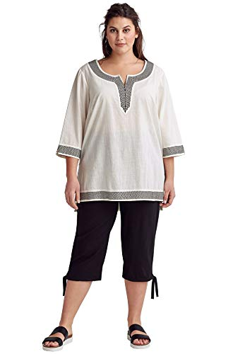 - Ellos Women's Plus Size Embroidered Kurta Tunic - Ivory, 2X