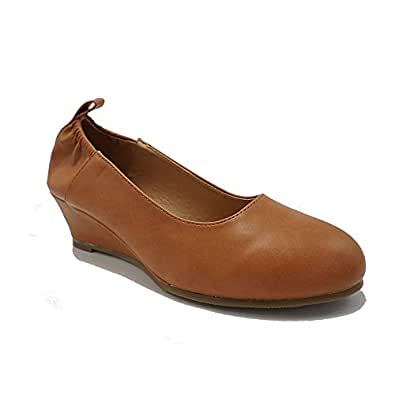 TheRightPair Women's Round Toe Slip On Elastic Mid Heel Wedge Pumps Office Work Dress Shoes NM01 Brown Size: 6