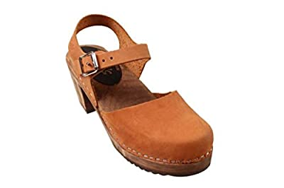 Lotta From Stockholm Swedish Highwood Clogs in Brown Oiled Nubuck on Brown Base