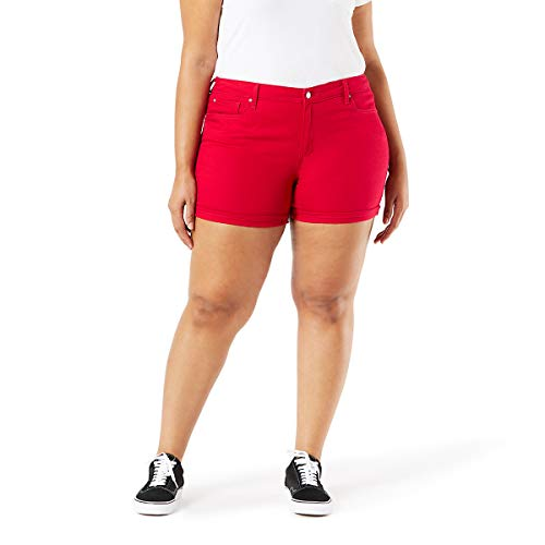 Co Denim - Signature by Levi Strauss & Co Women's Mid-Rise Shorts, Jester red, 22