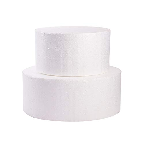 WANDIC Foam Cake Dummy, 2 Pcs White Round Foam Circle Foam Disc Cake Foam for Wedding Display, Sculpture, Model, Floral Arrangement, DIY Craft Projects, 2 Sizes