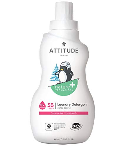 ATTITUDE Nature +, Hypoallergenic Baby Laundry Detergent, Fragrance Free, 35.5 Fluid Ounce, 35 Loads (Attitude Baby Detergent)
