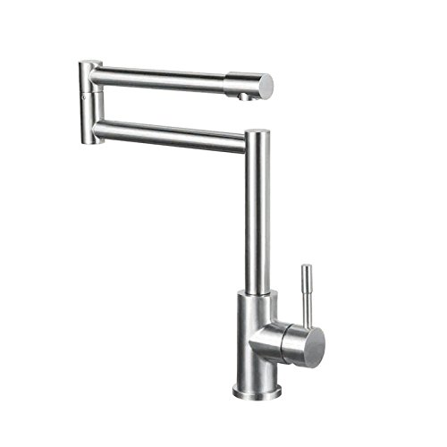JinYuZe Stainless Steel Swing Arm Kitchen Faucet 1 Lever Deck Mount Retractable Pot Filler Kitchen Faucet,Brushed Nickel ()