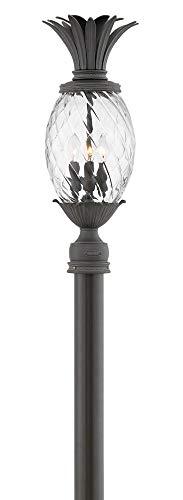 Hinkley 2121MB Plantation - Three Light Outdoor Medium Post Top/Pier Lantern, Museum Black Finish with Clear Optic Glass