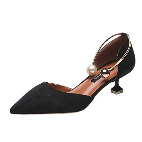 Women Sandals, LONGDAY  Ladies Closed Toe Pearl Circle Kitten Heel Pump Dress, Work, Party Mid Heeled Pumps Summer Black