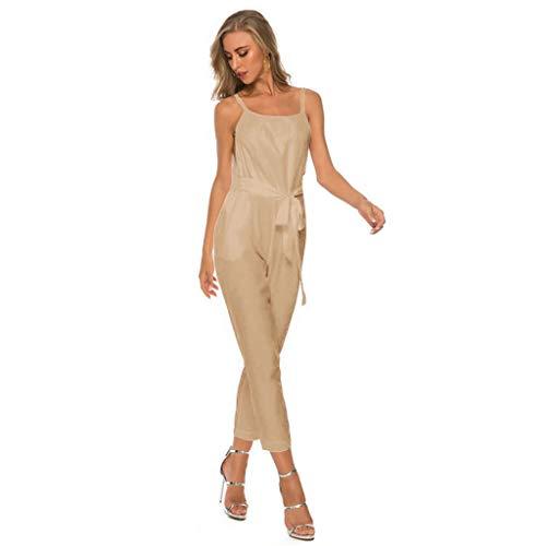 Tantisy ♣↭♣ Women Casual Loose Sleeveless Open Back Wide Leg Pants Romper Fashion Ladies Jumpsuits Khaki
