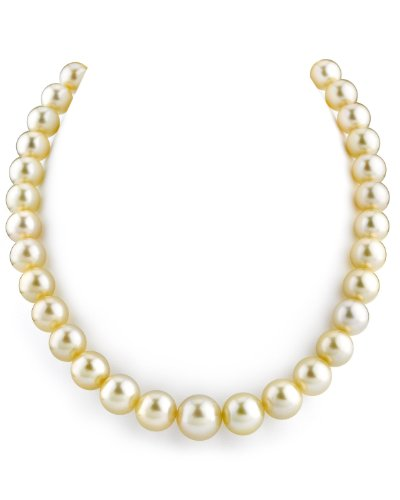 14K Gold 10-13mm Champagne Golden South Sea Cultured Pearl Necklace - AAA Quality, 18