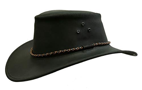 (Australian Echuca Leather Hat from Down Under | Kakadu Traders Traveller Hat Black)