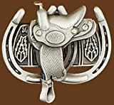 Saddle With Horse Shoes Belt Buckle