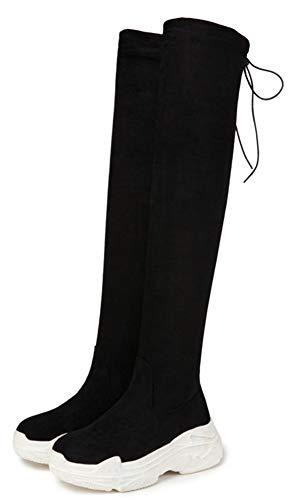 Semelle Noir1 Botte Epaise Chaud Cuissarde Aisun Mode Tige Longue Femme wI4SIq