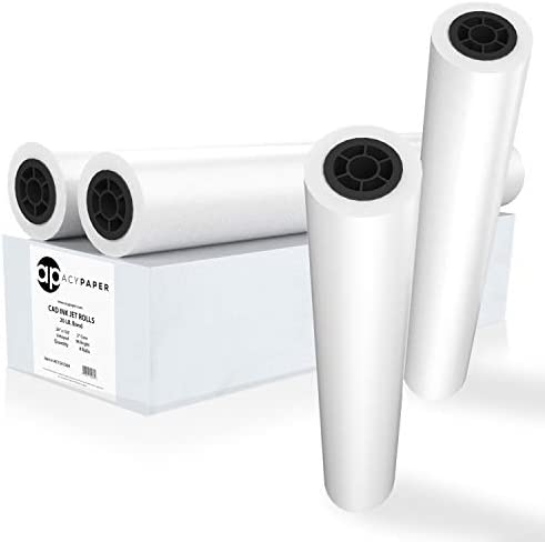 "ACYPAPER Plotter Paper 24 x 150, CAD Paper Rolls, 20 lb. Bond Paper on 2"" Core for CAD Printing on Wide Format Ink Jet Printers, 4 Rolls in line with Box. Premium Quality"