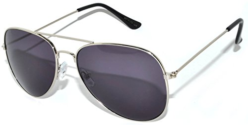 - Classic Aviator Sunglasses Smoke Lens Silver Frame with Black Earpiece Smoke Lens