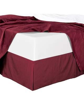 Damask Twin Stripe bedskirt 39x75 in (15 inch Drop) Burgundy ()