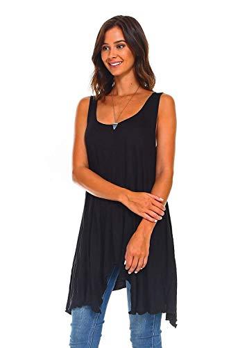 4ee826d3899 Simplicitie Women's Sleeveless Swing Flare Tunic Dress Tank Top - Regular  and Plus Size - Black