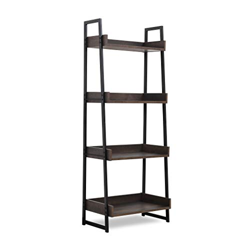 Sekey Home Ladder Shelf, 4-Tier Bookshelf | Book Case, Storage Rack Shelf Unit, Bathroom, Living Room, Wood Look Accent Furniture Metal Frame,Smoky Oak